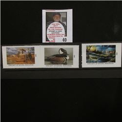 Three-Piece Set of Year 2000 Millenium Iowa Department of Resources Stamps depicting Wood Duck Flock