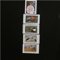 2000, 2001, 2002, & 2003 Iowa Migratory Waterfowl Stamps, all mint, unsigned.