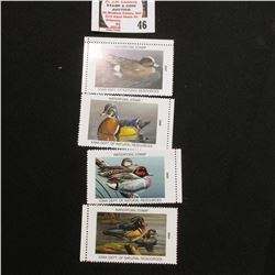 2004, 2005, 2007, & 2008 Iowa Migratory Waterfowl Stamps, all mint, unsigned.