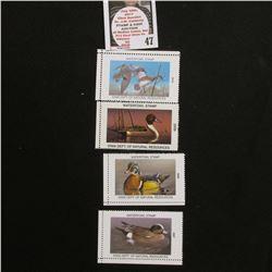 2007, 2008, 2009, & 2010 Iowa Migratory Waterfowl Stamps, all mint, unsigned.
