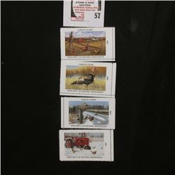 2001, 2004, 2007, & 2008 Iowa Wildlife Habitat Stamps, all mint, and unsigned.