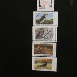 2008, 2009, 2010, & 2012 Iowa Wildlife Habitat Stamps, all mint, and unsigned.