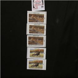 (2) 2008 (Eastern Wild Turkey) & (3) 2009 (Bobcat) Iowa Wildlife Habitat Stamps, all mint, and unsig