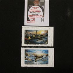 1999 & 2001 Iowa Department of Natural Resources Trout Stamps, both mint, unsigned.