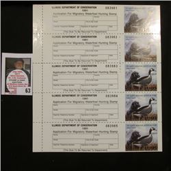 "Original Sheet of Five ""Illinois Department of Conservation 1991 Illinois Migratory Waterfowl Stamp"