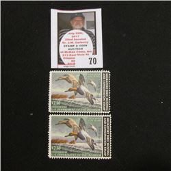 Pair of 1982 Artist David A. Maas signed RW49 Federal Migratory Bird Hunting and Conservation Stamps