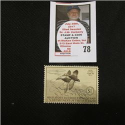 1940 RW7 Federal Migratory Bird Hunting and Conservation $1.00 Stamp. Signed, with no gum.
