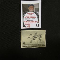 1945 RW12 Federal Migratory Bird Hunting and Conservation $1.00 Stamp. Unsigned, with gum, but hinge