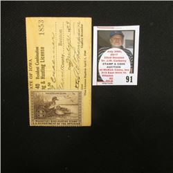 1939 Benton County, Iowa Resident Adult Hunting License No. 1853 with RW6 1939 Federal Migratory Bir