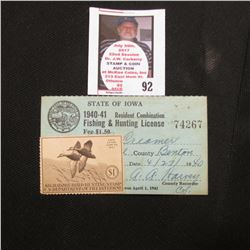 1940 Benton County, Iowa Resident Adult Hunting License No. 74267 with RW7 1940 Federal Migratory Bi