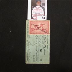 1935 Benton County, Iowa Resident Adult Hunting License No. 74 with RW2 1935 Federal Migratory Bird