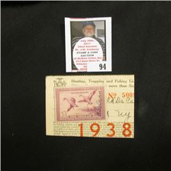 1938 State of New York Hunting, Trapping and Fishing license with attached RW5 Migratory Bird Huntin