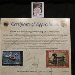 "2009 ""Certificate of Appreciation"" From the U.S. Fish and Wildlife Service For Investing in America'"