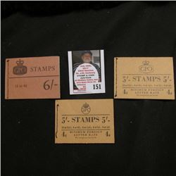 (3) Great Britain Stamp Booklets with stamps.