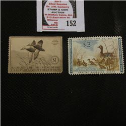 1940 RW7 Federal Migratory Bird Hunting and Conservation $1.00 Stamp, unsigned, with no gum & 1961 R