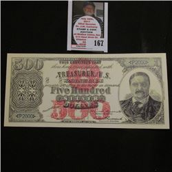 "Tim Prusmack Artwork #4/300 $500 Silver Dollars uniface Bank Note Serial number P2000. ""Theodore Roo"