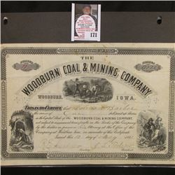 "May 12, 1881 One Share Stock no. 11 ""The Woodburn Coal & Mining Company Woodburn, Iowa"", depicts min"
