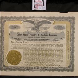 "20 Shares valued at $100 each Stock Certificate ""Cedar Rapids Foundry & Machine Company Cedar Rapids"