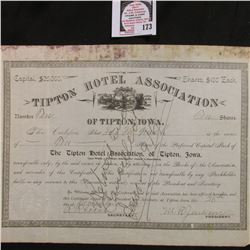 "No. 10 Stock Certificate for Ten Shares of ""Tipton Hotel Association of Tipton, Iowa""."