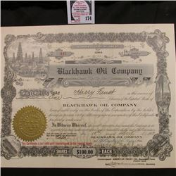 "No. 445 Stock Certificate for One Share of ""Blackhawk Oil Company"" Iowa, April 19th, 1923."