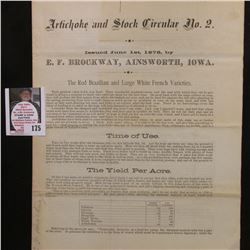 """Artichoke and Stock Circular No.2 Issued June 1st, 1878, by E.F. Brockway, Ainsworth, Iowa."