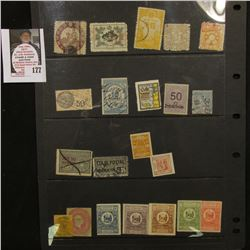 Group of old Foreign Revenue Stamps including South Wales, Great Britain, Hong Kong, Japan, and Germ