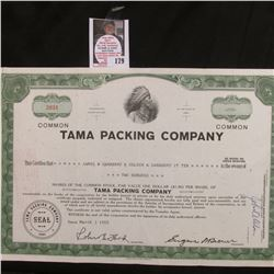 "March 3rd, 1965 Stock Certificate No. 2031 for 200 Shares Common Stock ""TAMA PACKING COMPANY This ce"