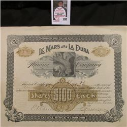 "Dec. 8, 1892 ""Le Mars and La Dura Mining Company"" Ten Shares at $100 each. Number 139. Raised notary"
