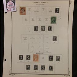 U.S. Stamps hinged to page including: Scott # 25 Circular, cross line grill cancel; #35 light cancel