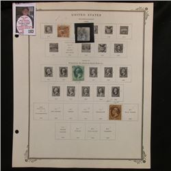 Circa. 1869 U.S. Stamps hinged to page including: Scott #113, #114, #136, & #150. All cancelled.