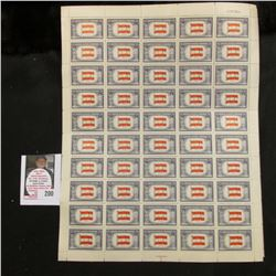 (3) Mint Sheets of Over Run Nations Stamps (50 Five Cent Stamps to a sheet), Includes: Austria, Belg
