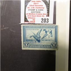 RW1 1934 Migratory Bird Hunting Stamp, unsigned, no gum, Fine.