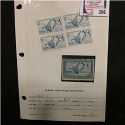 RW1 1934 Migratory Bird Hunting Stamp, unsigned, no gum, Fine; & a block of four 1934-1984 Preservin