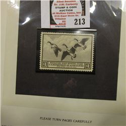 RW3 1936 Migratory Bird Hunting Stamp, unsigned, well centered, original gum, hinged.