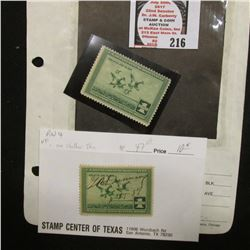 RW4 1937 Migratory Bird Hunting Stamp, unsigned, original gum, hinged; & a second one which has been
