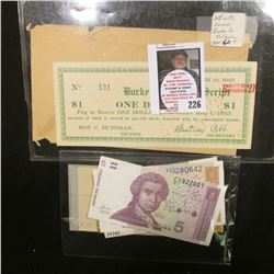 "(3)  Plate blocks of Stamps; (2) Bank notes from Hrvatska; a token; & a March 10, 1933 ""Burke Mercha"
