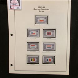 Complete Set of Overrun Countries Series Commemorative stamps on album pages and in Crystal mounts,