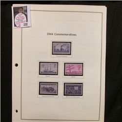 All the Commemorative Stamp Singles mounted in crystal mounts and on pages for 1944-50. All Mint, un