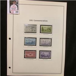 All the Commemorative Stamp Singles mounted in crystal mounts and on pages for 1951-59. All Mint, un