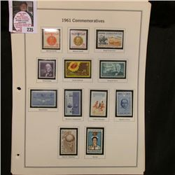 All the 1961 Commemoratives; 1961-65 Civil War Centennial Stamps; & 1962-68 Commemorative Stamps, mo