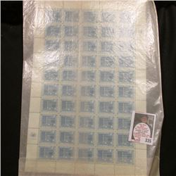 October 24, 1960 Original Sheet of (50) Four Cent Fifteenth Anniversary of the United Nations Stamps