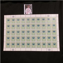 1963 Original Mint (50) Count Sheet United Nations Five Cent Stamps.