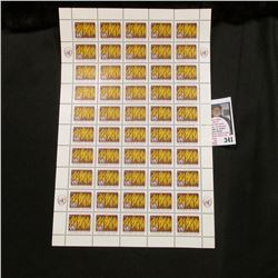 1963 Original Mint (50) Count Sheet United Nations Eleven Cent Stamps.