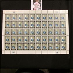 1962 Original Mint (50) Count Sheet United Nations Fifteen Cent Stamps.