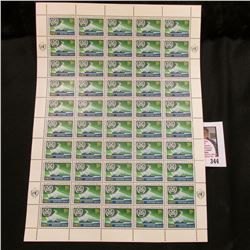 1964 Original Mint (50) Count Sheet United Nations Eleven Cent Stamps.