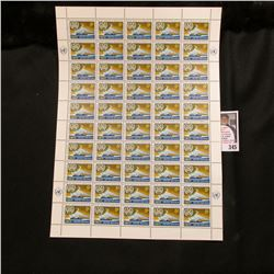 1964 Original Mint (50) Count Sheet United Nations Five Cent Stamps.