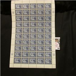 1962 Original Mint (50) Count Sheet United Nations Four Cent Stamps..