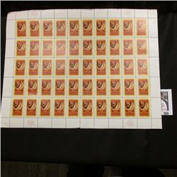 1961 Original Mint (50) Count Sheet United Nations Four Cent Stamps..