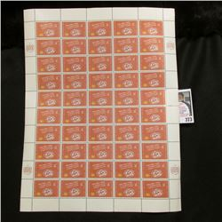 "1961 Original Mint (50) Count Sheet United Nations Seven Cent Stamps. ""Promotion of Inrternational M"