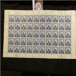 1958 Original Mint (50) Count Sheet United Nations Three Cent Stamps.